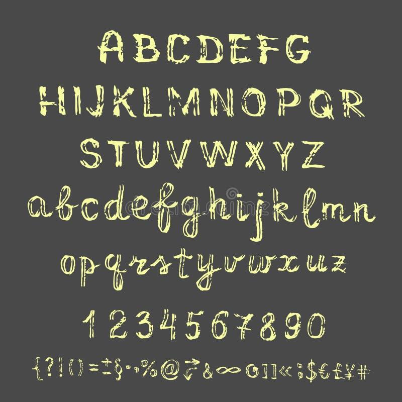在黑板的传染媒介手拉的剪影字母表 向量例证