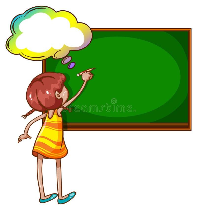 在黑板的女孩文字 库存例证