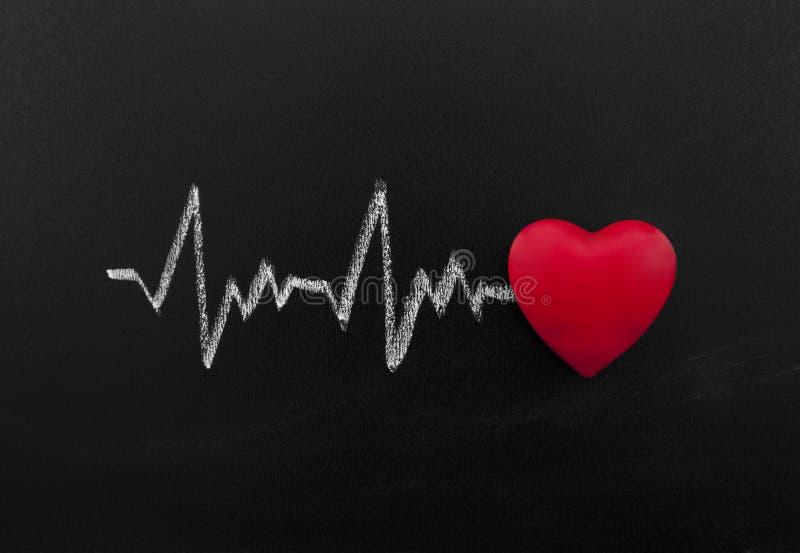 在黑板的心跳 免版税图库摄影