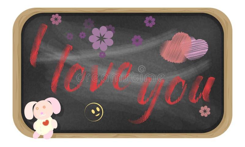 在黑板的手写的消息 我爱你 库存例证
