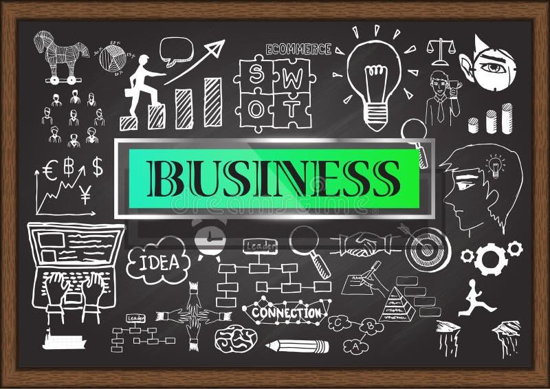 在黑板的手拉的事务 浏览详述的企业动画片任意感觉其他计划系列对工作 库存例证