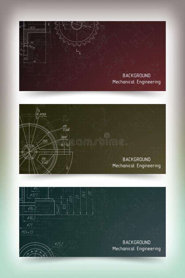 在黑板的机械工程图画 皇族释放例证