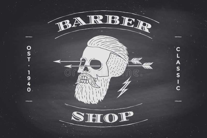 在黑黑板的理发店标签海报  皇族释放例证
