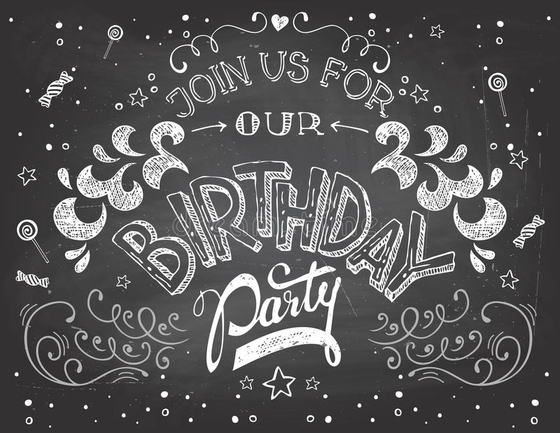 在黑板的生日聚会邀请 库存例证
