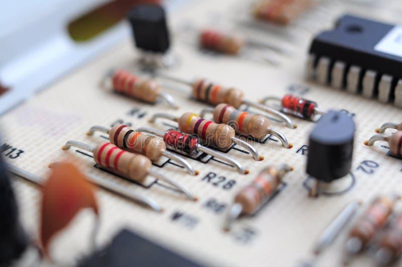 在主板的电阻器 免版税库存照片