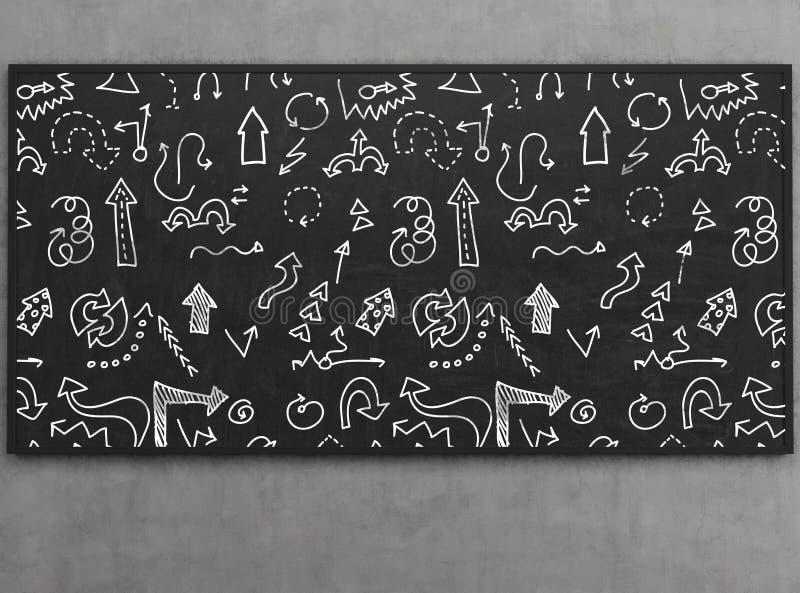 在黑板的箭头象 库存照片