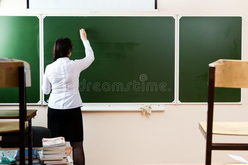 在黑板的老师文字 免版税库存照片