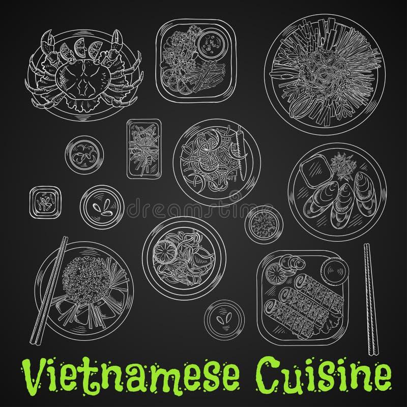 在黑板的越南晚餐白垩剪影 库存例证