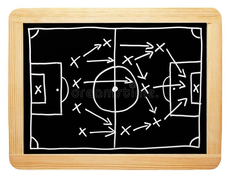 在黑板的足球战略 免版税图库摄影