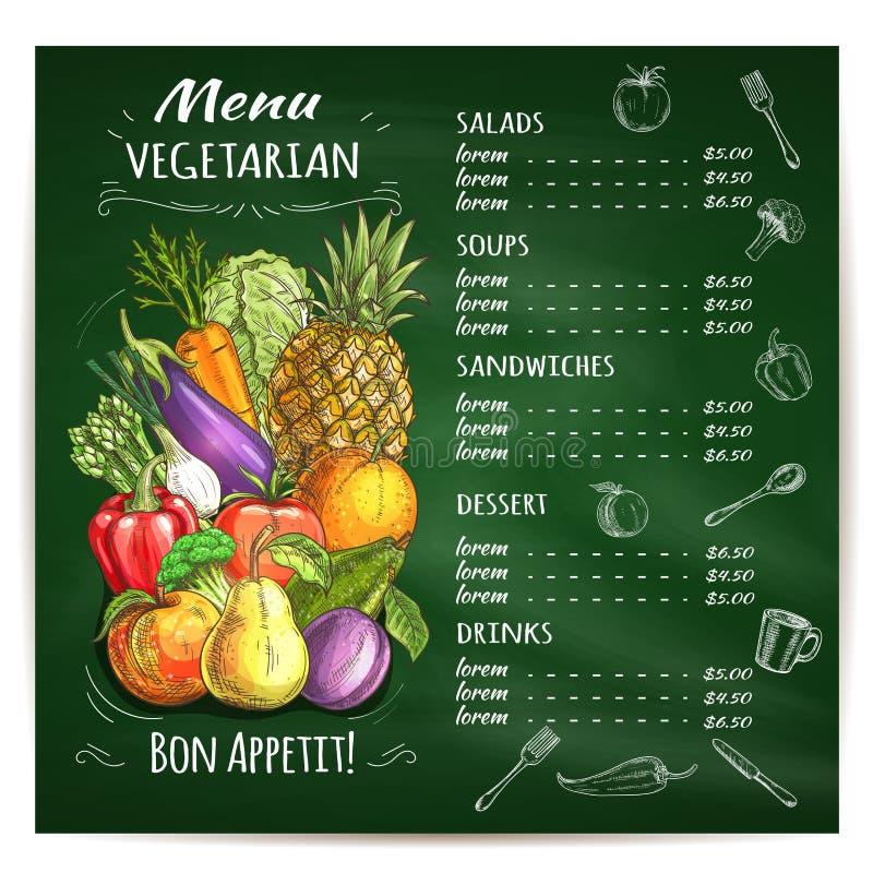在黑板的素食食物餐馆菜单 皇族释放例证