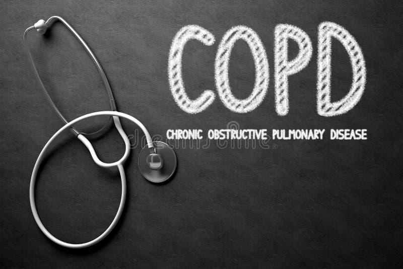 在黑板的COPD概念 3d例证 向量例证