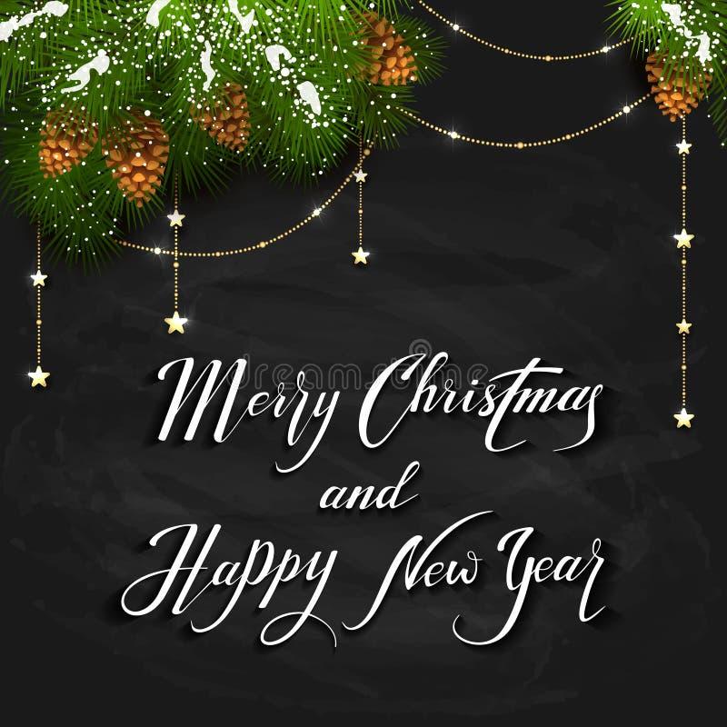 在黑黑板背景的圣诞节满天星斗的装饰 皇族释放例证