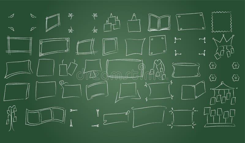 在黑板背景的手拉的照片框架 库存例证