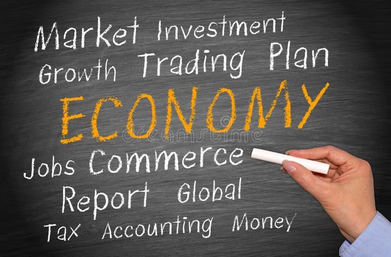在黑板被写的经济概念 免版税库存照片