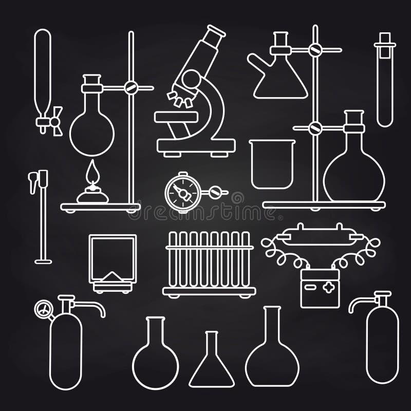 在黑板设置的化工实验室象 向量例证