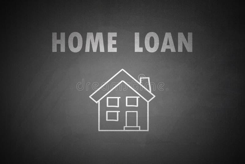 在黑板画的房屋贷款概念 免版税库存图片