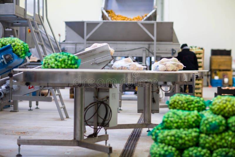 在水果和蔬菜批发的机械 免版税库存照片