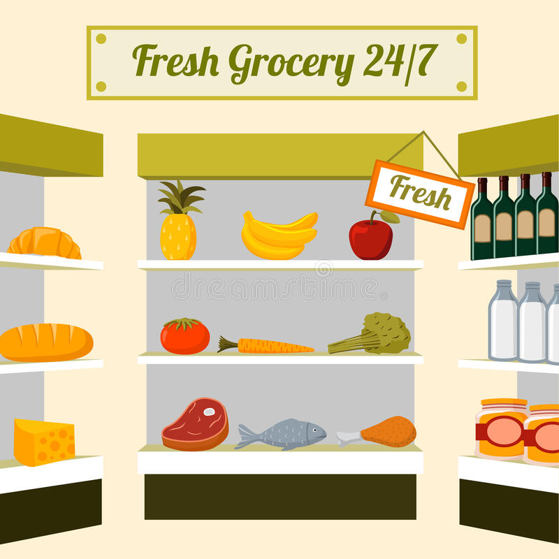 在货架的新鲜的杂货食物 库存例证