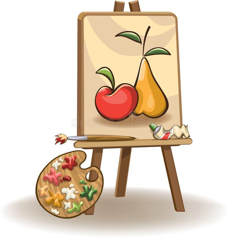 在画架的绘画 向量例证