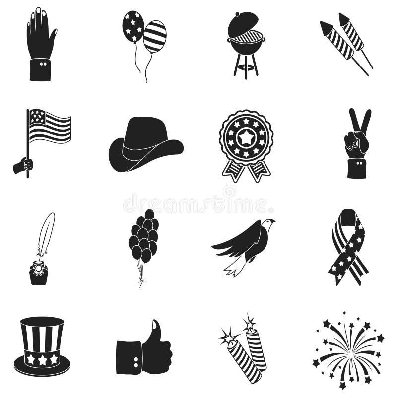 在黑样式的爱国者天集合象 大汇集爱国者天传染媒介标志股票例证 向量例证
