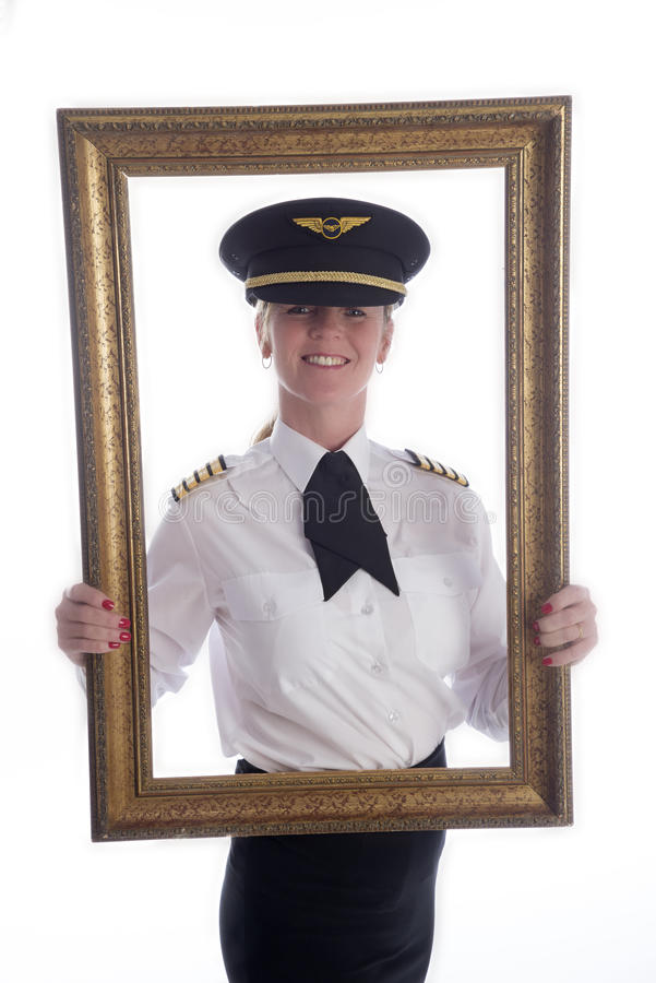 在画框女性航空公司飞行员 库存照片
