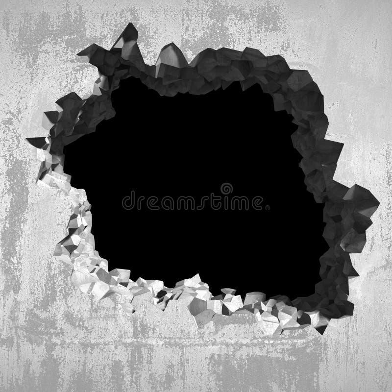在水泥破裂的墙壁的爆炸孔 行业背景 免版税库存照片