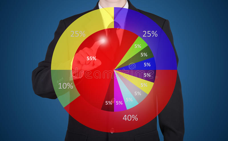 在经济情况统计圈子图的商人新闻 免版税库存图片