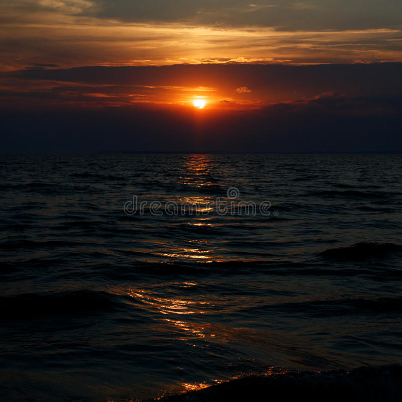 在黑海的惊人的日落 库存照片