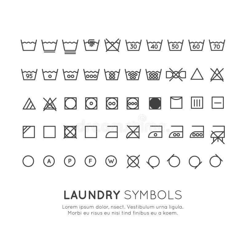 在洗涤的衣裳标签的标志,绞,烘干,电烙,稀薄的线设计 常规线性标志 库存例证