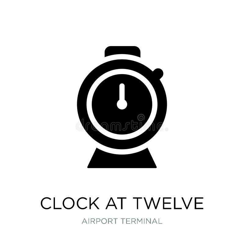在12点象的时钟在时髦设计样式 在白色背景隔绝的12点象的时钟 在十二的时钟 皇族释放例证