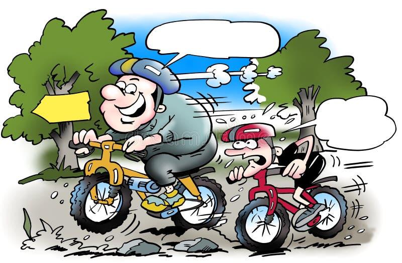 在锻炼的自行车运动器具在森林 皇族释放例证