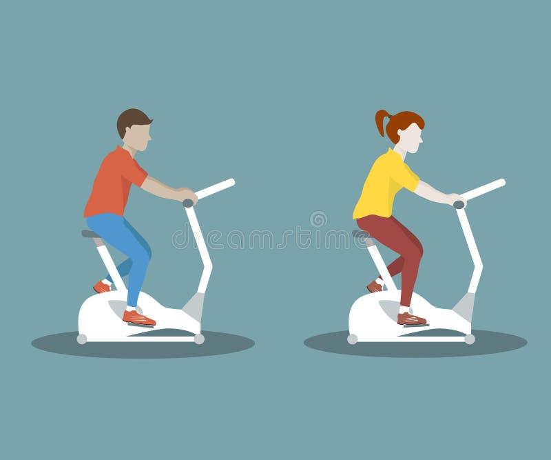 在锻炼脚踏车的夫妇 皇族释放例证