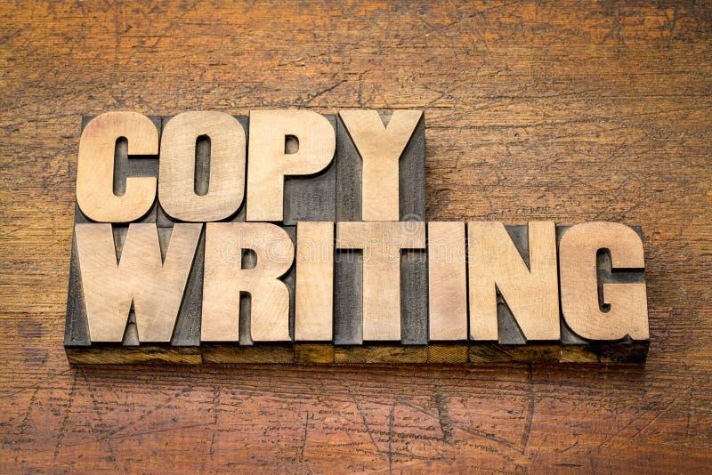 在活版木头类型的Copywriting词 免版税库存照片