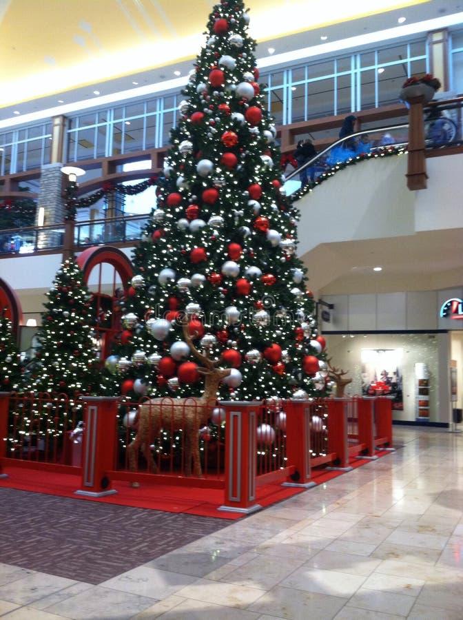 在购物中心的圣诞树 免版税库存照片