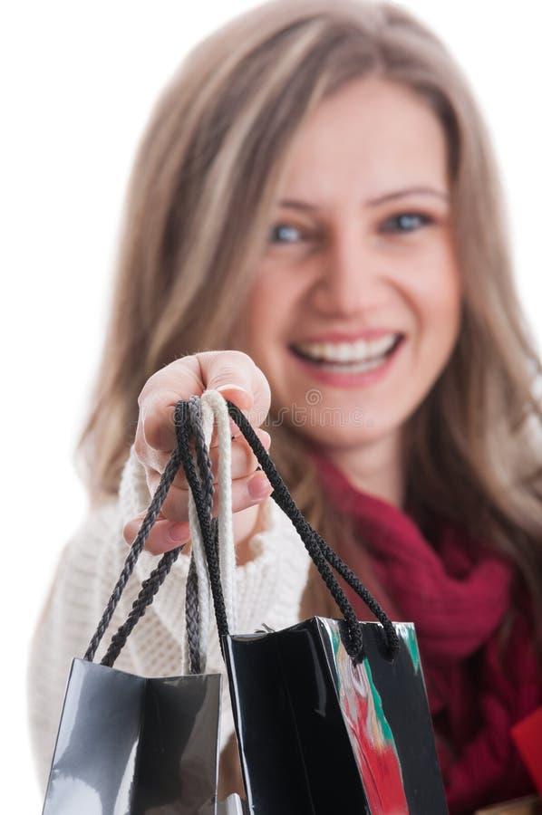 在购物袋的焦点 免版税库存照片