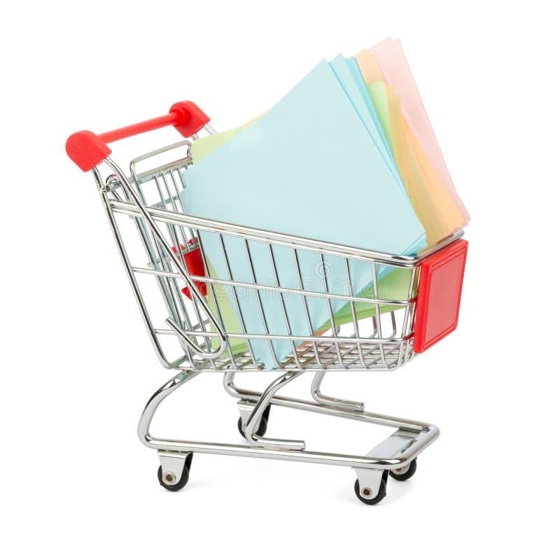 在购物车的贴纸 免版税库存图片