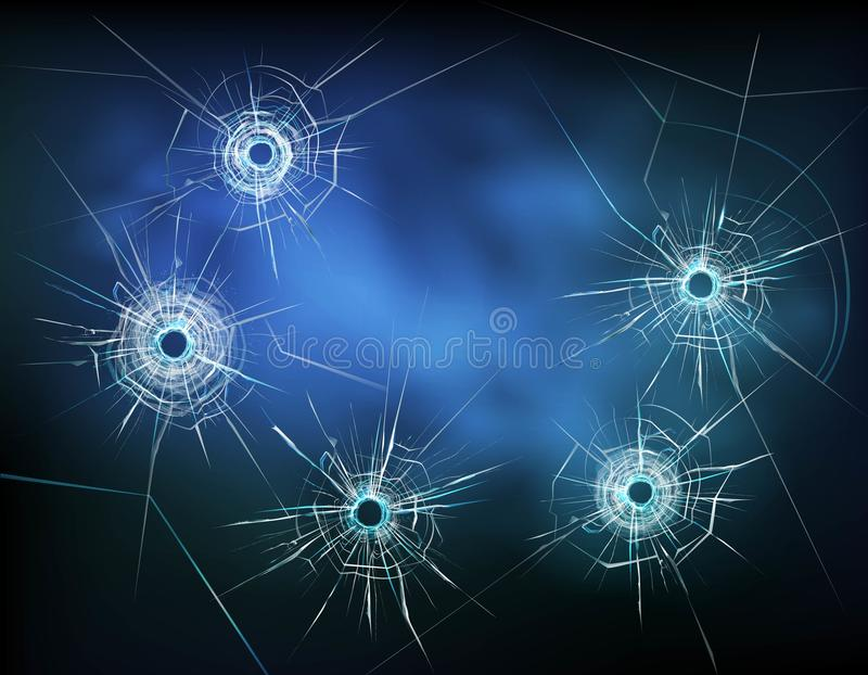 在玻璃例证的弹孔 库存例证