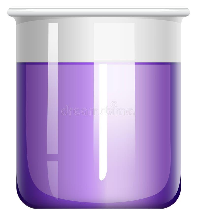 在玻璃烧杯的紫色液体 库存例证