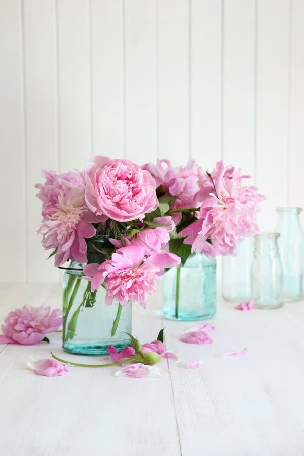 在玻璃瓶子的桃红色牡丹 图库摄影