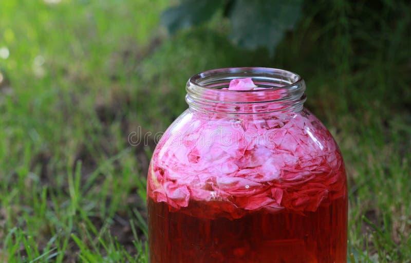 在玻璃瓶子的玫瑰花瓣生产的自创玫瑰色汁液 免版税图库摄影