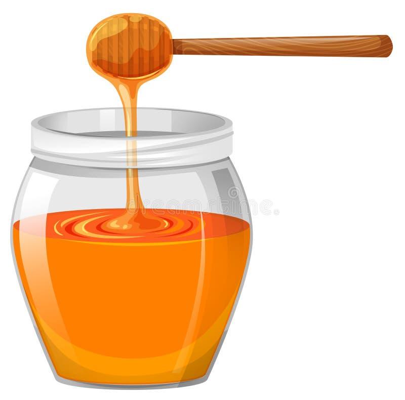 在玻璃瓶子的蜂蜜 皇族释放例证