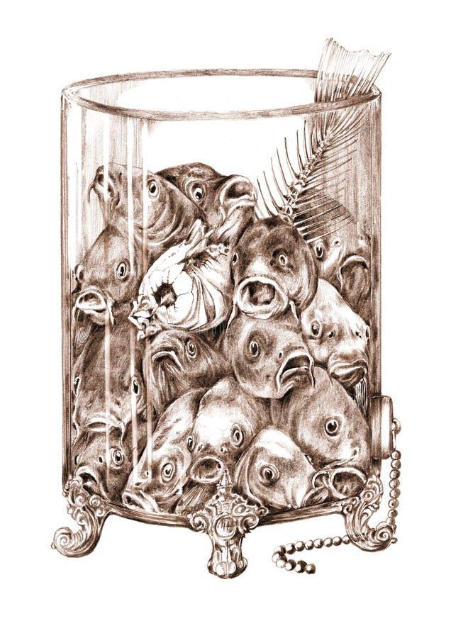 在玻璃瓶子的鱼 库存照片