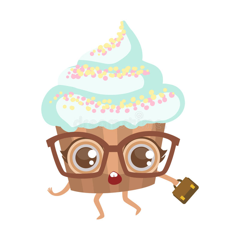 在玻璃的杯形蛋糕与手提箱逗人喜爱的芳香树脂被赋予人性的动画片食物字符 向量例证