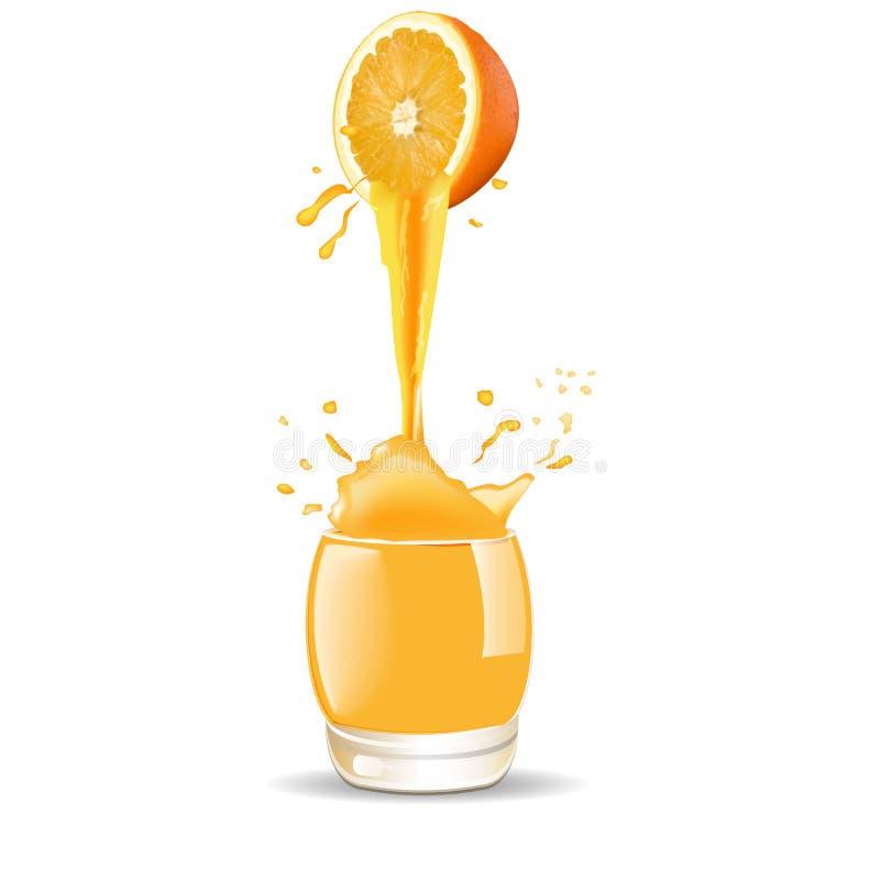 在玻璃的橙汁飞溅在白色背景 向量 3d 库存例证
