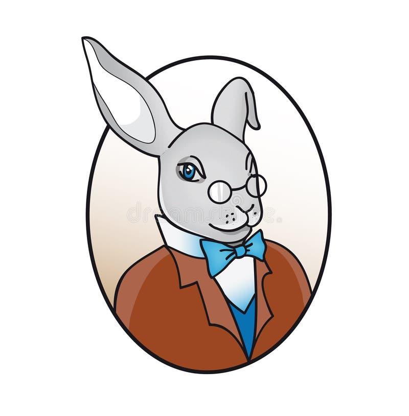 在玻璃的聪明的兔子与蝶形领结例证 皇族释放例证