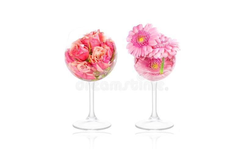 在玻璃的花装饰 库存照片