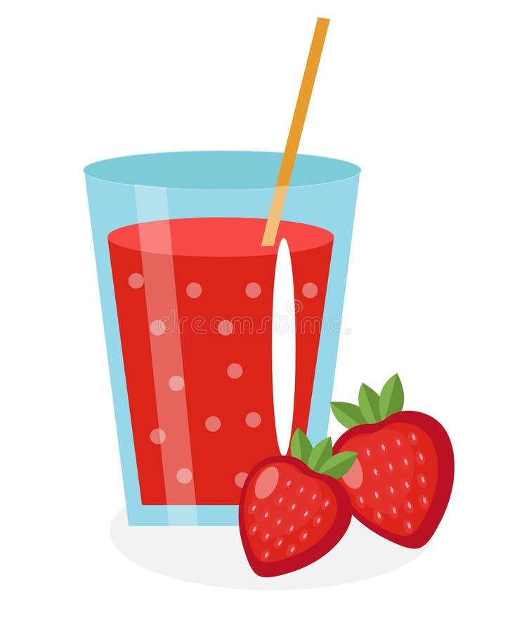 在玻璃的草莓汁 在白色背景隔绝的新鲜 果子和象 向量例证