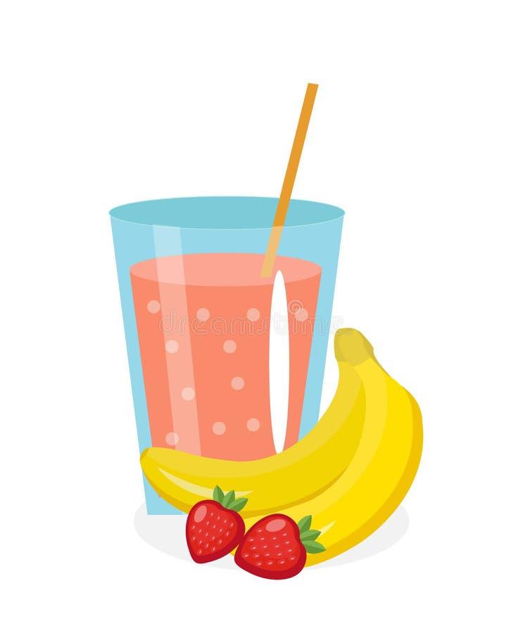 在玻璃的香蕉草莓汁 新鲜 并且隔绝在白色背景 库存例证