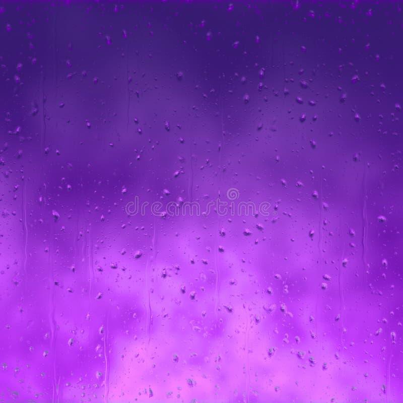 在玻璃的紫色雨结露 向量例证