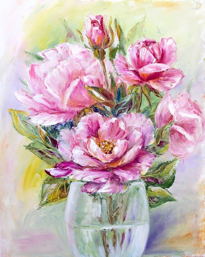 在玻璃花瓶的玫瑰花束 皇族释放例证
